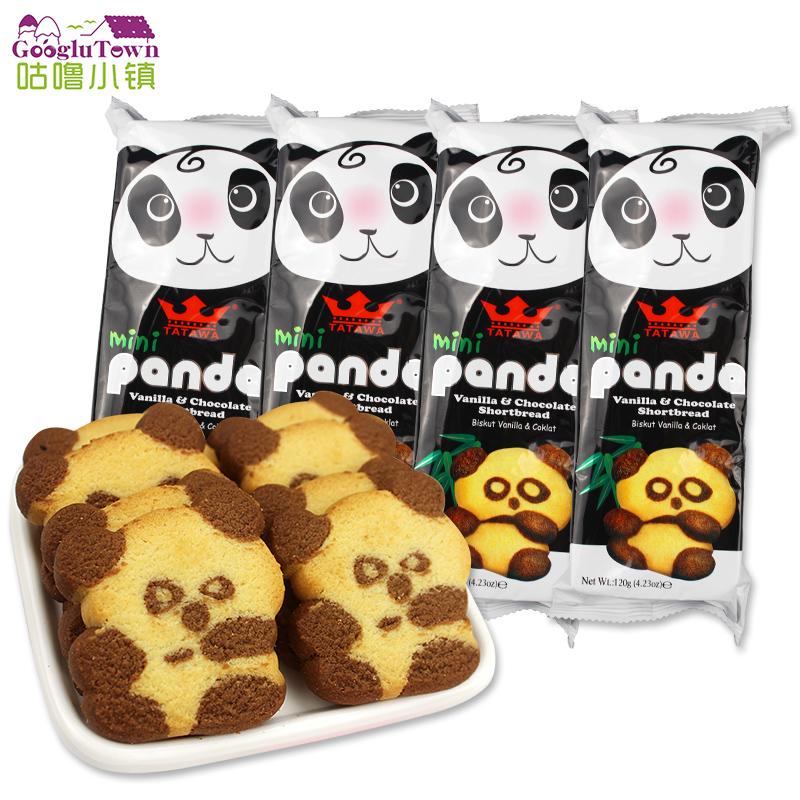 【促销】马来西亚tatawa塔塔瓦熊猫进口巧克力香草味曲奇饼干120g*4包零食马来西亚原装进口
