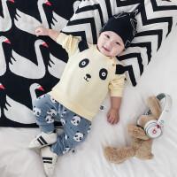 婴儿秋装幼儿纯棉衣服宝宝卡通熊上衣小熊批印长裤新生儿套装