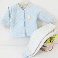 2018秋冬新款宝宝夹棉保暖衣套装婴儿加厚内衣66-80码 宝宝保暖内衣套装 纯色蓝色