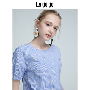 Lagogo/拉谷谷2018年夏季新款时尚圆领小清新短袖T恤HASS305A12