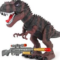 走路电动暴龙儿童男孩动物玩具 遥控感应霸王龙枪射击恐龙模型