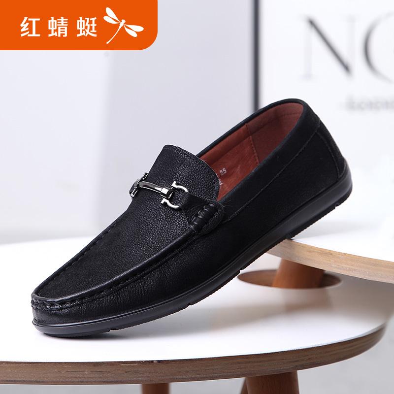 【红蜻蜓618开门红、领劵减100】红蜻蜓真皮男单鞋新款男士休闲皮鞋韩版时尚豆豆鞋休闲鞋