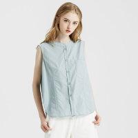 【1件2.5折到手价:74.8】纯棉MECITY女装简约小清新少女立领口袋衬衫