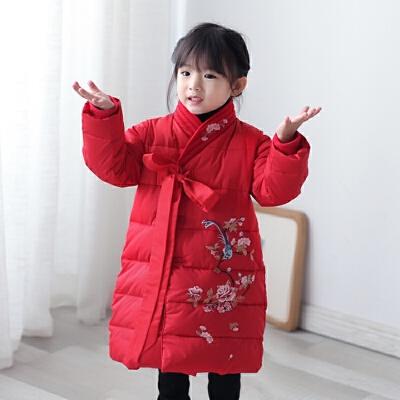 女童唐装冬装棉衣中国风童装汉服小女孩刺绣新年装拜年服儿童旗袍 红色 棉衣 发货周期:一般在付款后2-90天左右发货,具体发货时间请以与客服协商的时间为准