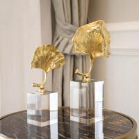 家居饰品摆件样板房装饰全铜*叶水晶底摆件书房客厅摆件装饰品