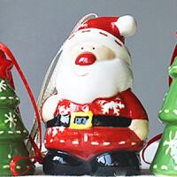新年圣诞节圣诞树挂件创意陶瓷卡通车饰挂饰装饰老人美式摆件雪人