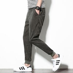 春季新款灯芯绒束脚裤小脚裤