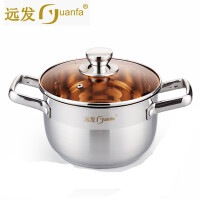 远发德国工艺加厚不锈钢汤锅 一体成型煲汤锅4.5L 电磁炉燃气通用 22CM