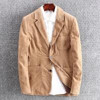 灯芯绒西服男外套休闲西装男上衣修身灯芯绒单西2606 驼色