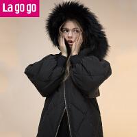 Lagogo/拉谷谷2017冬新款宽松大毛领连帽长袖保暖羽绒服女中长款
