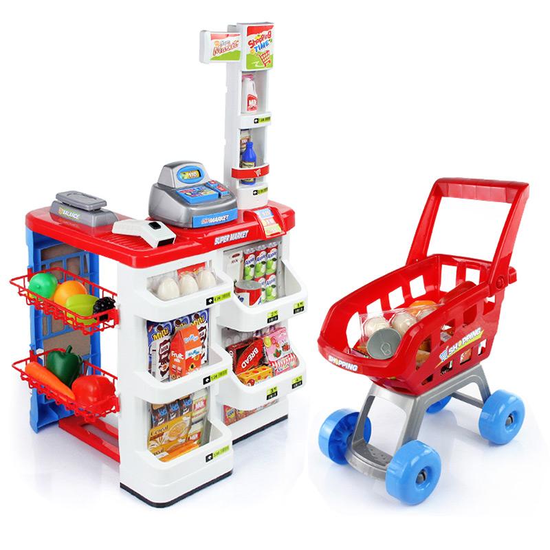 儿童仿真超市购物组合套装收银台手推车女孩过家家玩具礼物益智玩具限时钜惠