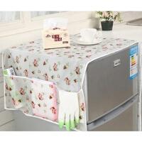 透明印花防水冰箱防尘罩家用电冰箱盖布收纳袋双开门遮冰箱罩挂袋