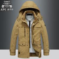 AFS JEEP保暖加绒棉衣战地吉普棉袄加厚宽松大码连帽棉衣外套818