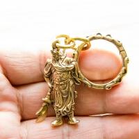 复古纯铜黄铜带刀关公武财神钥匙扣挂件吊坠男女汽车创意生日礼品