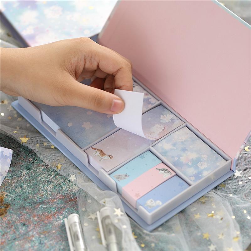 盒装便签贴纸套装可爱创意韩国ins便利贴卡通少女便签纸便利签