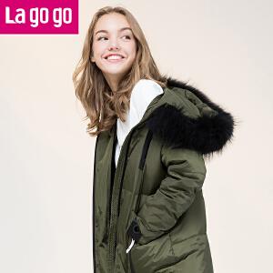 Lagogo/拉谷谷2017年冬季新款时尚口袋装饰保暖羽绒服
