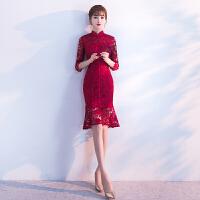 敬酒服新娘旗袍秋冬季2018新款红色长款结婚晚礼服女修身显瘦短款