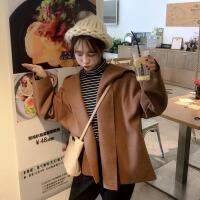 春秋女装韩版复古学院风宽松连帽风衣休闲外套气质短款呢子大衣潮 均码