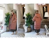 女中长款棉袄韩版新款冬装学生面包服加厚宽松大码棉衣外套潮 S 110斤以下