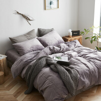 新品秒杀北欧风裸睡天鹅绒四件套纯色短毛绒保暖床单加厚珊瑚绒抗静电被套