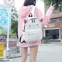 帆布双肩包女校园日系软妹旅行背包潮可爱卡通中小学生书包韩版