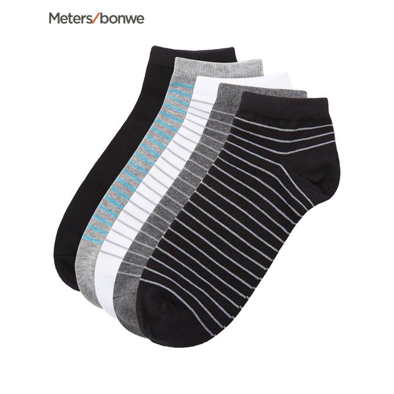 美特斯邦威袜子男款2017新款五双装经典舒适短袜 S