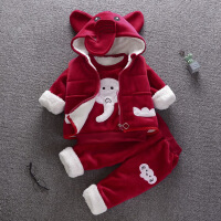 女宝宝冬装套装0一1-2-3岁韩版潮儿童冬季加绒加厚女孩衣服三件套巴
