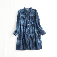 秋装新款女中长款牛仔衬衫 宽松特大码长袖水洗拼接连衣裙27A