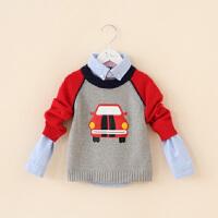 儿童毛衣秋装新款韩版童装帅气男童卡通小汽车印花棉线针织衫毛衣