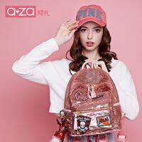 aza阿札夏季包包2017新款潮 时尚亮片个性轻软大容量双肩包6232