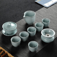 哥窑汝窑功夫茶具套装家用开片可养汝瓷整套日式茶壶茶杯盖碗