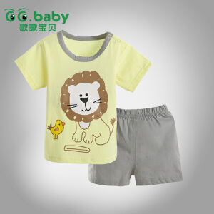 歌歌宝贝夏季宝宝新款印花套装 宝宝夏季外出服 婴儿全棉短裤套装 宝宝短袖套装