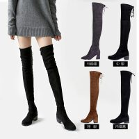 加绒系带过膝靴中跟弹力靴内增高长筒靴黑色铁灰高筒女长靴子 3.0cm平跟版 黑色