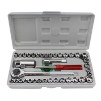 汽修套筒 棘轮扳手 40件套手提套筒组合 套筒工具套装 汽修工具箱 修车工具套装