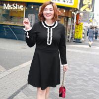 Msshe大码女装2017新款秋装胖mm弹力针织撞色拼接连衣裙M1740170