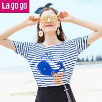【5折价93.5】Lagogo/拉谷谷2018夏季新款前身贴布绣条纹圆领T恤HATT313Y06