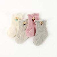 4双秋冬款婴儿袜0-6-12个月新生儿宝宝婴儿袜子松口防滑 扣子款四双