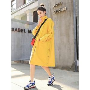 七格格外套女秋装新款薄中长款韩版学生宽松原宿风长袖风衣
