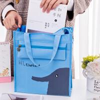 大号防水卡通手提袋饭盒袋学生美术包便当包补习袋补课包文件书袋