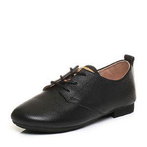 Tata/他她2017秋牛皮复古绑带休闲鞋方跟女皮鞋2B221CM7
