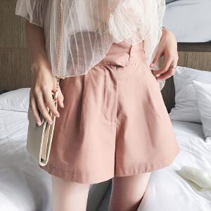 谜秀休闲裤女2018夏装新款高腰封腰少女学生阔腿裤短款chic裤子潮