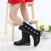 女童靴子2018新款韩版公主皮靴儿童长筒靴中大童防滑加绒棉靴