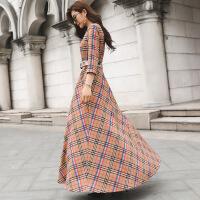 春秋装女2018新款七分袖格子连衣裙韩版修身显瘦高腰系带长裙
