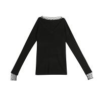 2018新款秋装气质套头毛衣女V领蕾丝拼接网纱修身针织打底衫上衣 均码