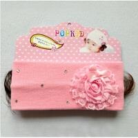 婴儿空顶帽韩版宝宝假发帽子夏季0-12个月婴儿空顶帽韩版公主可爱凉帽假发带 0-12个月
