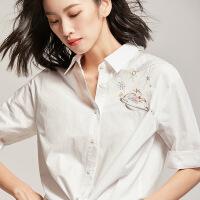 【女王节 活动价:79元】梵希蔓衬衫女刺绣2019夏装衬衣女设计感韩版OL纯棉系带上衣