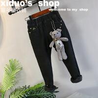 中小童冬装新品女好版型小熊弹力修身加厚抓绒牛仔铅笔裤A6-A27