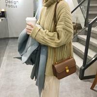 新款韩版复古焦糖色豆腐包女 时尚简约单肩斜挎链条小包包女 L606焦糖色