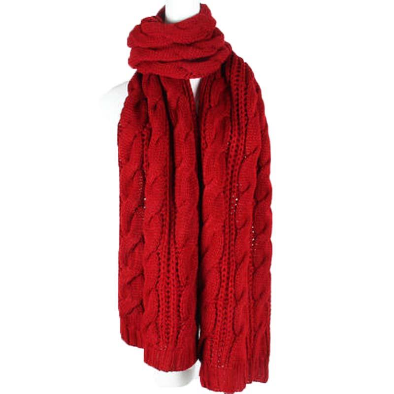男女秋冬天厚针织围脖 粗毛线披肩 长针织麻花毛线围巾_枣红色