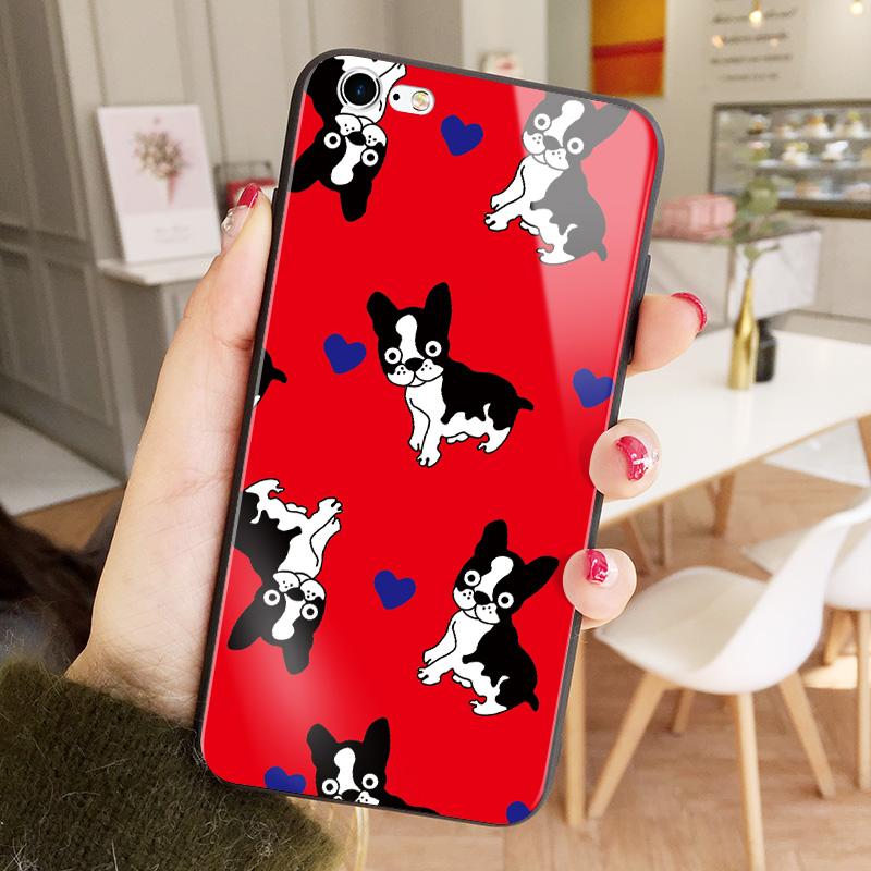 猫咪文字苹果7plus手机壳iPhone6S可爱卡通7个性玻璃X全包软硅胶边8情侣保护套8plus个 6/6S 多个红色狗狗